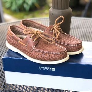 Sperry Bluefish Brown Woven Boat Shoes